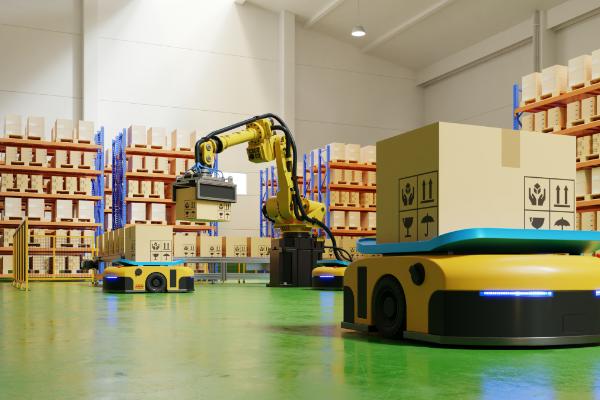 工場で無人搬送・作業車によって運ばれる製品